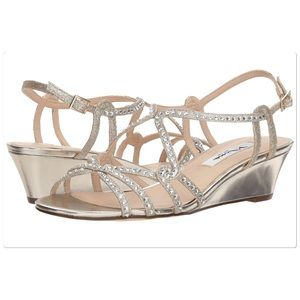 Nina Gold Wedge Sandals